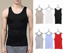 Men's 100% Pure Silk Knitted Tank Top T Shirts Casual Tee Size S M L XL XXL 3XL