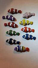 Peruvian Ceramic Red Orange Green Purple Blue Rainbow Clownfish Fish Focal Bead