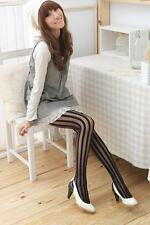 Admcity Sheer Pantyhose with Vertical Opaque Stripes Look Slim Black One Size