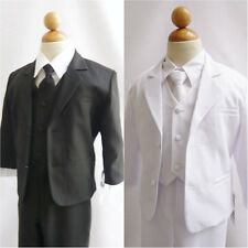 L13 NEW BOY FORMAL SUIT WITH LONG TIE BLACK TUXEDO S-20