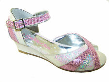 Ivory and pink glitter wedge girls sandals ideal for any special occasion