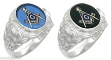 Men's Sterling Silver or Vermeil (Gold Plated) Masonic Freemason Mason Ring