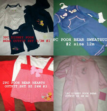 * NWT NEW GIRLS 1pc or 2pc or 3PC DISNEY POOH BEAR OUTFIT SET 0/3M 6m 12m 24m