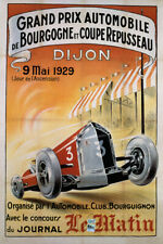 1929 GRAND PRIX CAR RACE RACING DIJON BOURGOGNE COUPE FRENCH VINTAGE POSTER REPO