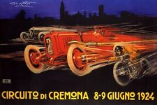 1924 ITALY CREMONA CAR MOTORCYCLE RACE GRAND PRIX ITALIA VINTAGE POSTER REPRO