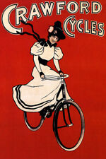 CRAWFORD CYCLES FASHIONABLY WOMAN RIDING BIKE BICYCLE VINTAGE POSTER REPRO