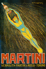 ITALY MARTINI VERMOUTH ROSSI TORINO FLYING MAN DRINK VINTAGE POSTER REPRO