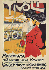 TIVOLI CITY ITALY SHIP TOUR BOAT LADY FASHION HAT TRAVEL VINTAGE POSTER REPRO