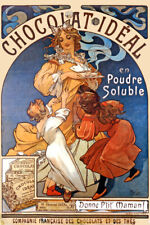 CHOCOLAT IDEAL POWDER CHOCOLATE HOT COCOA CHILDREN MUCHA VINTAGE POSTER REPRO