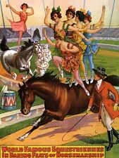 FAMOUS RINGLING HORSE BACK CIRCUS VINTAGE REPRO POSTER