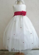 NEW IVORY RED BABY FLOWER GIRL WEDDING BRIDALS DRESSES