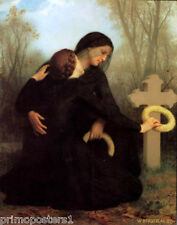 ALL SAINTS DAY WIDOW GRAVEYARD PAINTING BY BOUGUEREAU REPRO