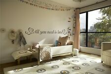 All You Need Is Love Vinyl Wall Decal Quote*25 colors*
