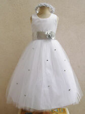 NEW WHITE SILVER FLOWER GIRL INFANT PAGEANT PARTY DRESS