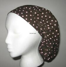 Brown w pink dots Surgical Scrub Hat bouffant F25 V