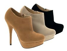 PLATFORM ANKLE BOOTS LADIES HIGH HEEL SHOES WOMENS 3-8