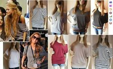 OFF THE SHOULDER SLOUCH BATWING LONG TOP T. SHIRT SHORT SLEEVES 6 8 10 12 14 16