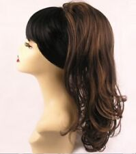 Clip-on Drawstring Hair Piece Natural Wavy Ponytail Long Brown Blonde Highlight