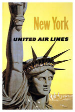 "Vintage Travel Art - New York- United Airlines- 24""x36""  Print on Canvas"
