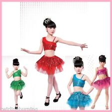 Girls Jazz/Latin/Ballet Dance Costume Kids Party Dress up Dancing Top Skirt DC01