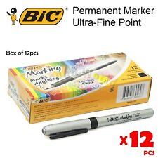 12s Bic Ultra-Fine Permanent Color Marker Pen, Made in USA - Black / Blue / Red