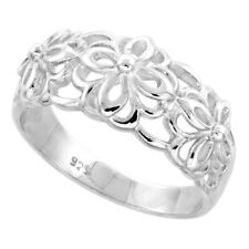 Sterling Silver High Polished Floral Pattern Cut-out Flower Ring