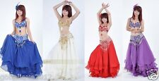 Brand New Sexy Belly Dance 2 Pcs Costume Bra & Belt 4 Colours