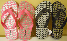 Girls Old Navy Flip Flop Sz 10/11, 12/13, 1/2 Black Pink Hearts Silver NWT