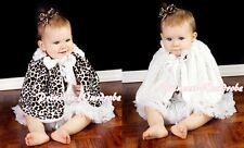 White Bow Baby Girl Fluff Reversible Zebra Print Petti Shawl Coat Scarf 6m-6Y