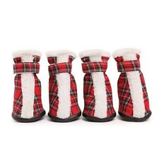 Dog Boots Shoes Paw Covers Set of Four Tartan Design Sherpa Trim Closure