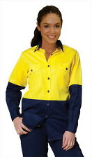 Safety Shirt,Long Sleeve,Hi Vis,Womens,8,10,12,14,16,18, Ladies,Women,Hi Viz