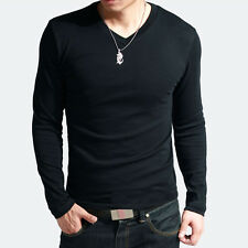 New Mens Slim Fit Cotton+Lycra V-Neck Muscle Long Sleeve Casual T-Shirt Tops