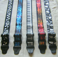 "GUITAR STRAP 2"" WIDE,  LEATHER ENDS MUSIC NOTES FLAMES SKULL PIANO 48"" ADJUSTABL"