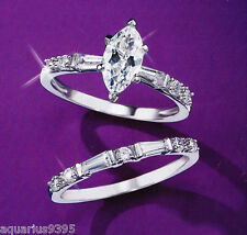 Sterling Silver Cubic Zirconia Engagement Ring choose Solitaire OR Band