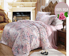 4 PCS 19MM 100% PURE SILK DUVET COVER DEEP FITTED SHEET PILLOWCASE SET ALL SIZE