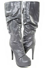 ❤USA* SEXY GRAY BROWN RUCHED PLATFORM HIGH HEELS CELEBRITY BOOTS Sz 6 7 8 9 10❤