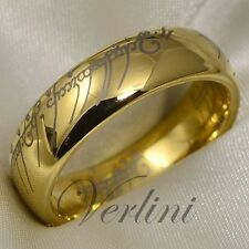 Gold Tungsten Ring Infinity Wedding Band Lord Rings LOTR Size 6-13