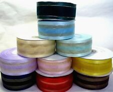 "1y/ 3y/ 6y Organza Ribbon w/ Satin Edge / Metallic Line 1-1/2"" 38mm Upick OSM1"