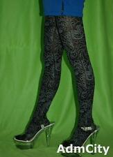 Admcity Black Opaque Spandex Pantyhose Floral Butterfly Print Tribal Design