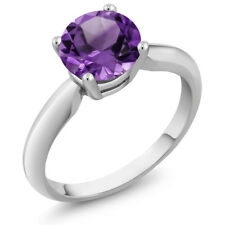 1.30 Ct Round Cut Genuine Amethyst 925 Sterling Silver Women's Solitaire Ring