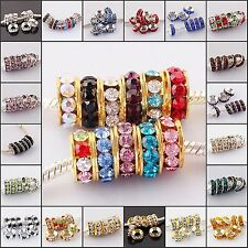 Wholesale Lots 10MM Crystal Findings Charm Big Hole European Beads Fit Bracelets