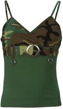 Woodland Camouflage Women's Spaghetti Strap With Buckle Tank Top