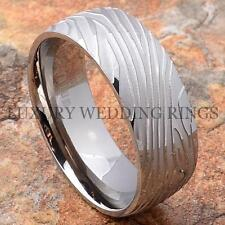 Men's Titanium Ring Wedding Band Damascus Design Bridal Jewelry Hot Size 6-13