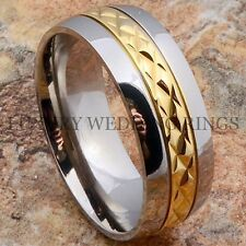 Titanium Ring 14K Gold Accent Men's Wedding Band Bridal Infinity Hot Size 6-13