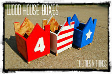 HANDMADE WOOD HOUSE BOX FOURTH OF JULY DECORATION
