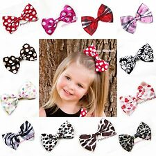 Baby Girl Chiffon Animal/Polka Dot Color hair Ribbon Bow For Pettiskirt headband