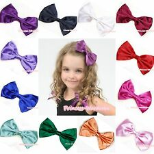 Baby Girl CUTE Satin Solid Color hair Ribbon Bow Alligator Pointed Clip Barrette