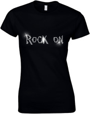 ROCK ON GUITAR DESIGN FITTED  LADIES T SHIRT WITH RHINESTUDS  (ANY SIZE)