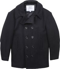 Black Military US Navy Type Wool Winter Peacoat USA Made
