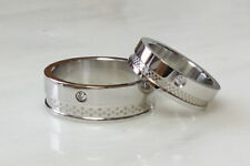Steel Double Layered Dexter Ring CZ Gem Band Size 5,6,7,8,9,10,11,12,13 (f217)